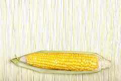 Corn on bamboo mat Stock Image