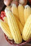 Corn in basket Royalty Free Stock Photos