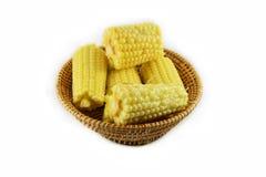 Corn on basket Stock Photos