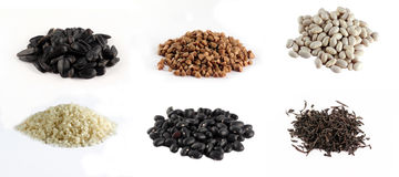 Corn and beans on white background Stock Photo