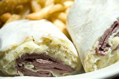 Corn beef reuben sandwich wrap Stock Photos