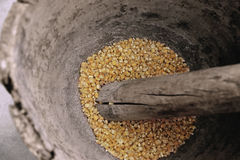 Corn being grinded with mortar and pestle made of wood to produce flour. Stock Photos