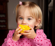 Corn bite. Closeup of a little girl taking a bite out of a corn on the cob royalty free stock images