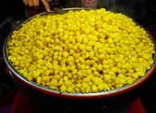 Corn boil hot, add sugar, milk, butter and delicious. Corn boil hot, add sugar, milk, butter and delicious in Market Stock Images