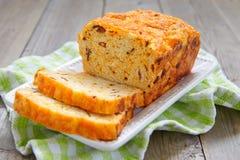 Corn bread with bacon and cheddar. Corn bread loaf with bacon and cheddar cheese royalty free stock photos