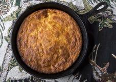 Corn Bread in Cast-Iron Pan Stock Photos