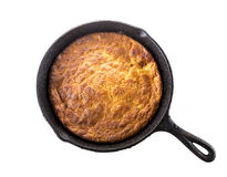Corn Bread in Cast-Iron Pan Isolated on White Stock Photography