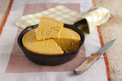 Corn Bread in a cast iron skillet Stock Photo