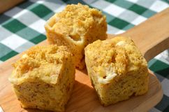 Corn Bread. Portions of freshly baked corn bread Royalty Free Stock Photo