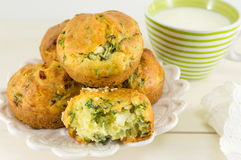 Corn bread with spinach on a wooden table Royalty Free Stock Photos