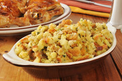 Corn bread stuffing with chicken Stock Image