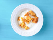 Corn bread and yogurt Royalty Free Stock Photography