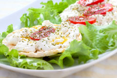 Corn cakes with ricotta and salad tomatoes. (front view stock images