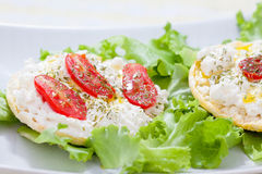 Corn cakes with ricotta and salad tomatoes (right view). Corn cakes with ricotta and salad tomatoes - right view stock images
