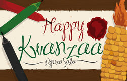 Corn and Candles with Greeting Scroll with Stamp for Kwanzaa, Vector Illustration Royalty Free Stock Image