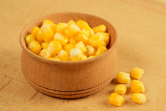 Corn. Canned sweet corn on the table Royalty Free Stock Images