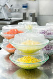 Corn and Carrots Prepped in Commercial Kitchen Stock Photos