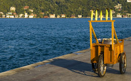 Corn cart. Near the Bosphorus in Istanbul Turkey Royalty Free Stock Photography