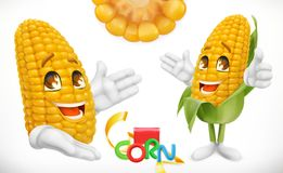 Corn, cartoon character. 3d vector icon. Corn, cartoon character. Food for kids. 3d vector icon royalty free illustration