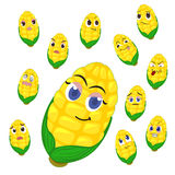 Corn cartoon with many expressions Royalty Free Stock Photos