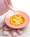 Corn cereals with marshmallows. Corn cereals in the pink plate with marshmallows Stock Image