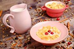 Corn cereals with milk Stock Photos