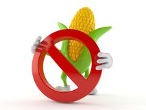 Corn character with forbidden symbol. Isolated on white background Stock Photo