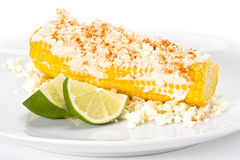 Corn with Cheese and Lime. Stock Photography