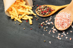 Corn cheese puffs with himalayan rose salt and pepper Royalty Free Stock Photos
