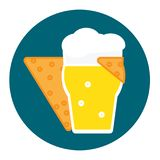 Corn chip hugs a glass of cold beer with foam icon flat style Vector illustration stock photo