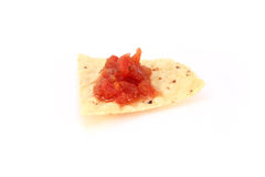 Corn chip with salsa Stock Photography