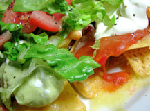 Corn chipe mit Salat Stockfotografie