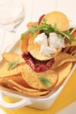Corn chips and curd cheese Royalty Free Stock Images
