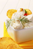 Corn chips and curd cheese Royalty Free Stock Photography