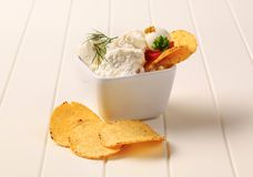Corn chips and curd cheese Royalty Free Stock Photos