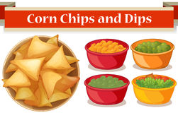 Corn chips and four kind of dips Stock Photo