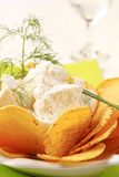 Corn chips with fresh cheese Royalty Free Stock Photography