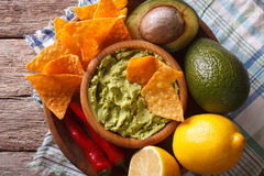 Corn chips, guacamole and ingredients closeup. horizontal top view Stock Photo