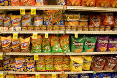 Corn chips. Lots of corn chips for sale in store stock photo