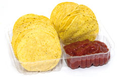 Corn Chips and Salsa Stock Images
