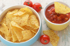 Corn chips with salsa Royalty Free Stock Photo