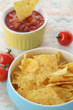 Corn chips with salsa Royalty Free Stock Images