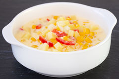 Corn chowder in bowl Royalty Free Stock Photo