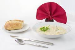 Corn Chowder and Bread stock photo