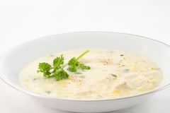 Corn Chowder with Chicken. A hearty bowl of chicken corn chowder for lunch or dinner on a cold winter day Stock Images