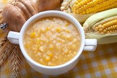 Corn Chowder. And fresh corn on Tablecloth Stock Photos