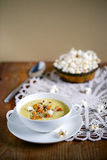 Corn chowder soup with wild mushrooms, chanterelles Stock Images