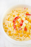 Corn chowder in white bowl Stock Photography
