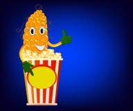 Corn cob and popcorn. Corn cob advertises a box of popcorn vector illustration Royalty Free Stock Photography