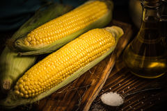 Corn on the cob. Autumn healthy snack Royalty Free Stock Photos